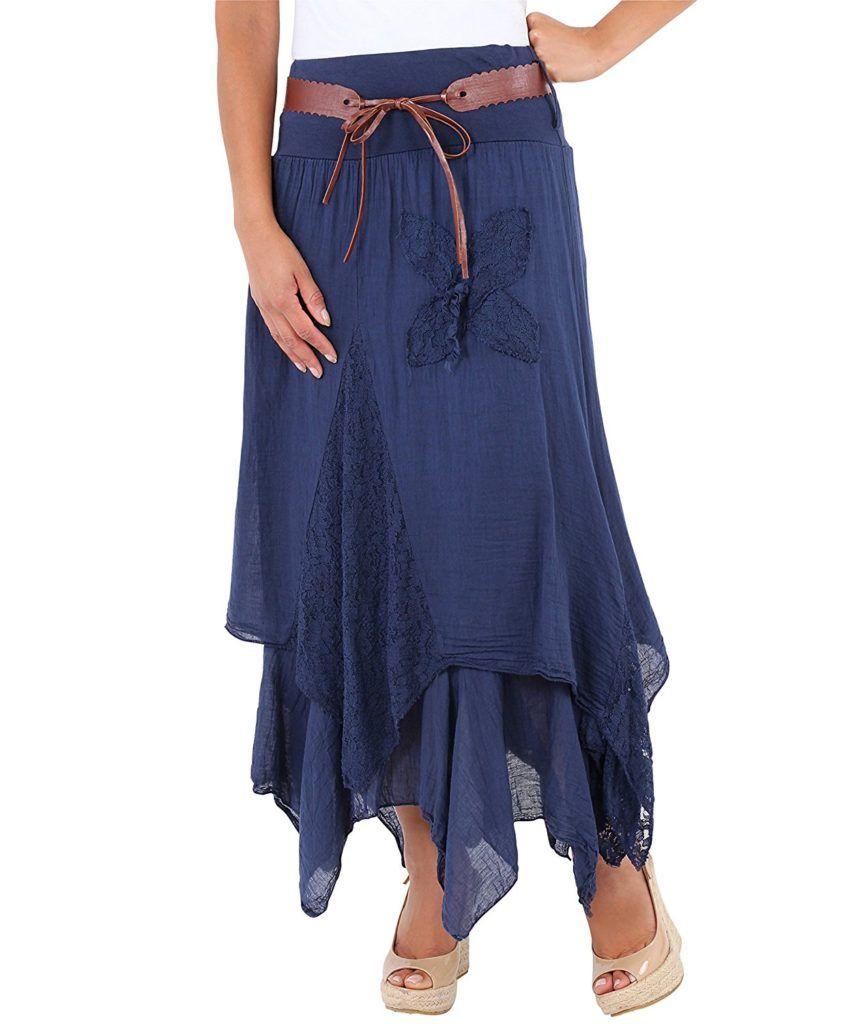83e77ce6ee KRISP Womens Bohemian Gypsy Cotton Belted Elastic High Waist Maxi Long  Skirt Plus Size