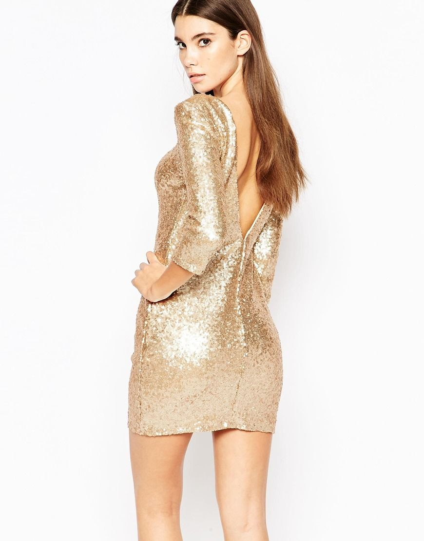 Image 1 of TFNC Allover Sequin Mini Dress with Deep Back and 3/4 Sleeve