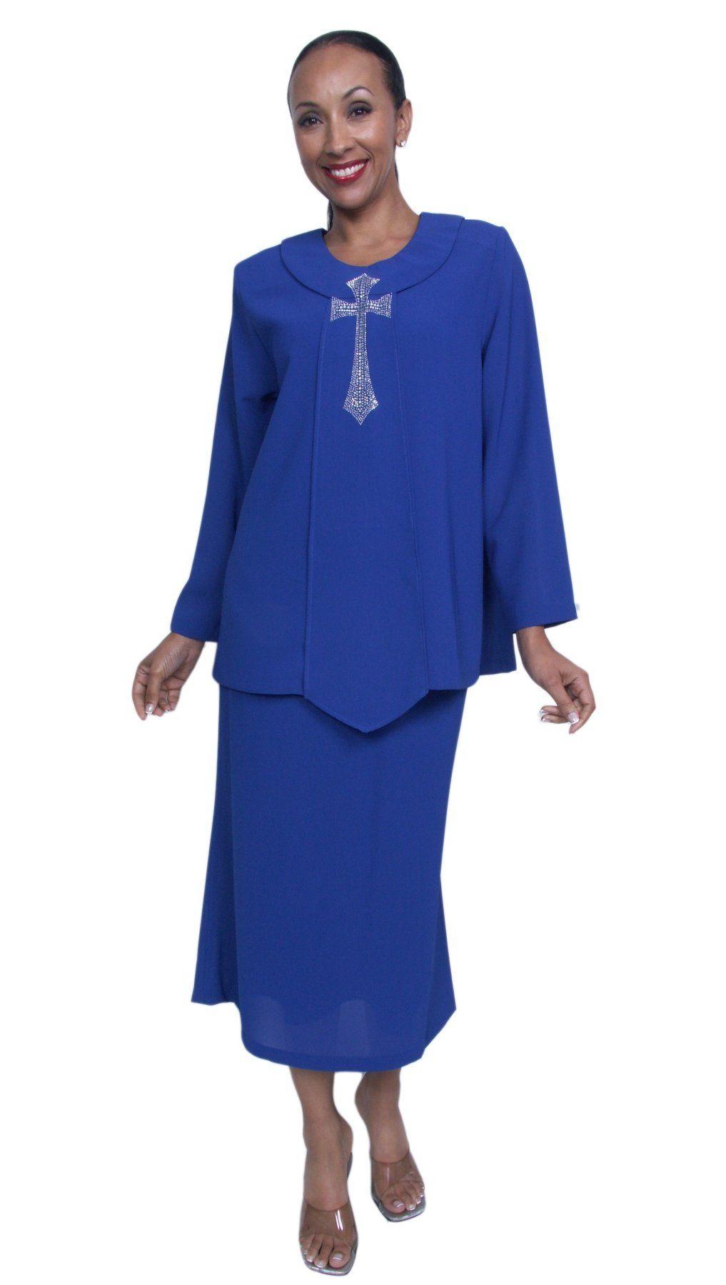 Plus Size Royal Blue Church Choir 4 Piece Dress Set Skirt Jacket Top ...