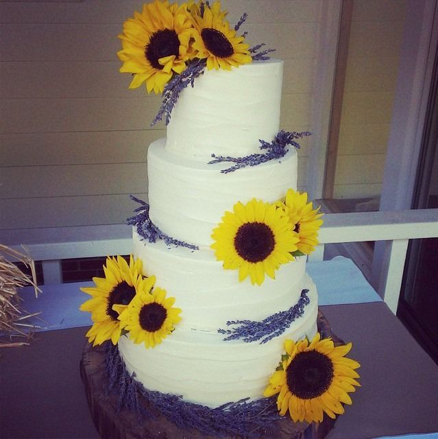 My wedding cake by Amanda Swink - Sunflowers & Lavender on carved Oak wood cake stand: vanill... My wedding cake by Amanda Swink - Sunflowers & Lavender on carved Oak wood cake stand: vanilla buttercream icing, with vanilla, chocolate and 2 layer ...