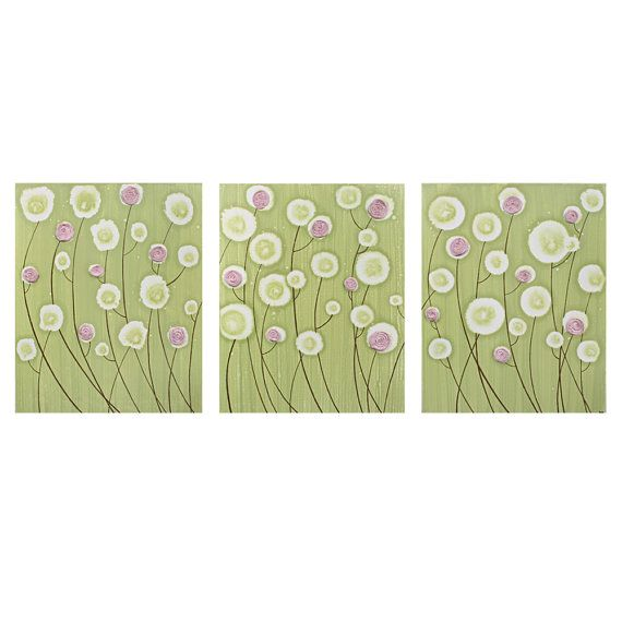 Nursery Decor Wall Art Flower Painting - Green, Pink, and Purple ...