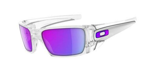 d67ebe8765 Oakley Men's Iridium Fuel Cell Rectangular Sunglasses,Polished Clear  Frame/Violet Iridium Lens,
