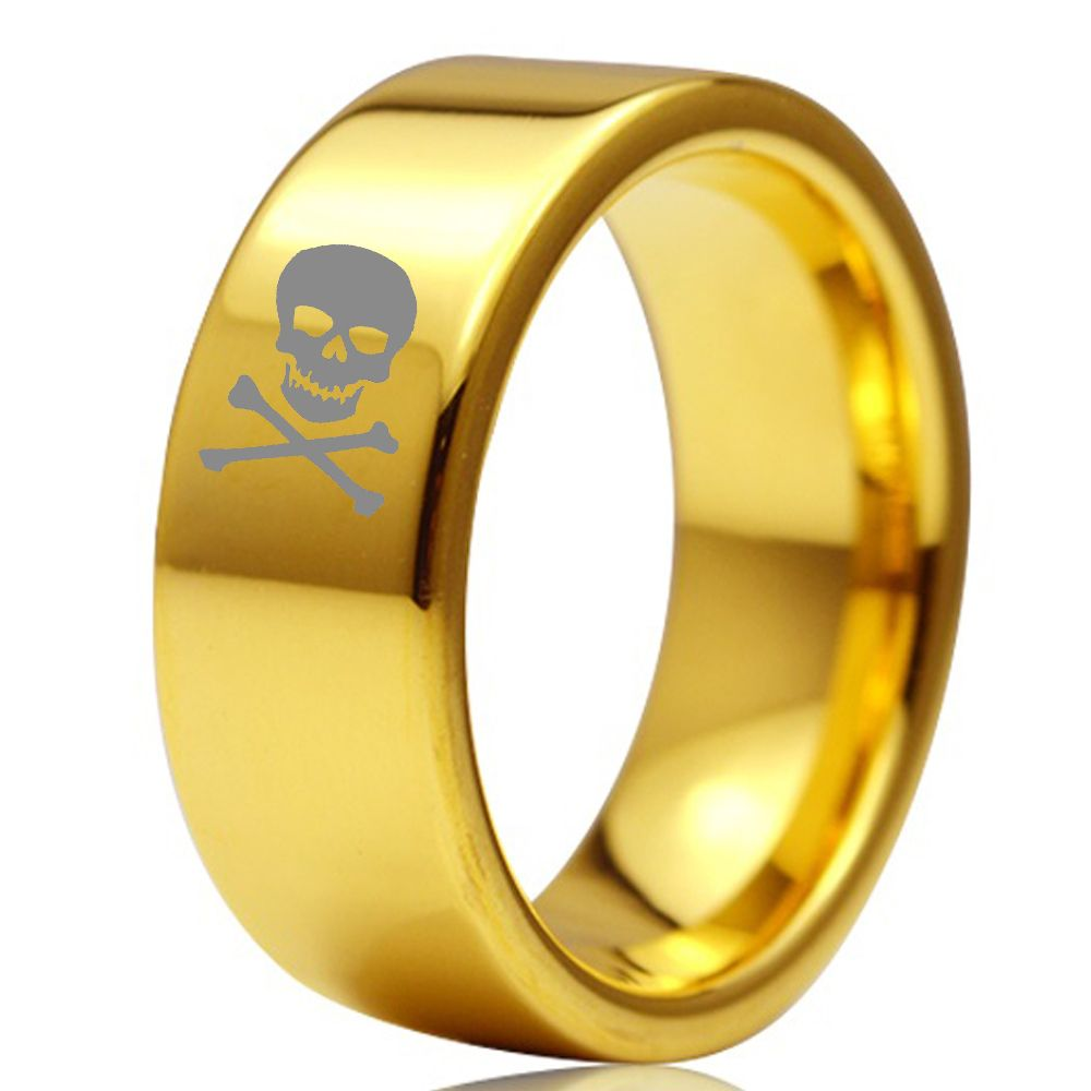 8MM Gold Color Flat Design Male Female Tungsten Carbide Marriage Wedding Band Ring With Skull