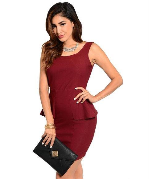 Burgundy Peplum Dress from California Girl on Storenvy