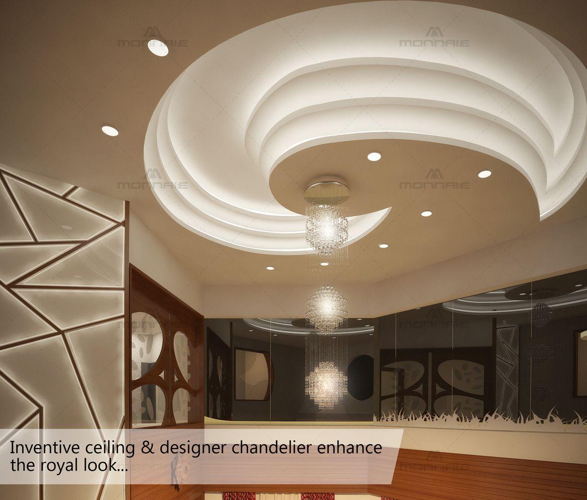 Living Room Interiordesign Bangalore: Inventive Ceiling & Designer Chandelier Enhance The Royal