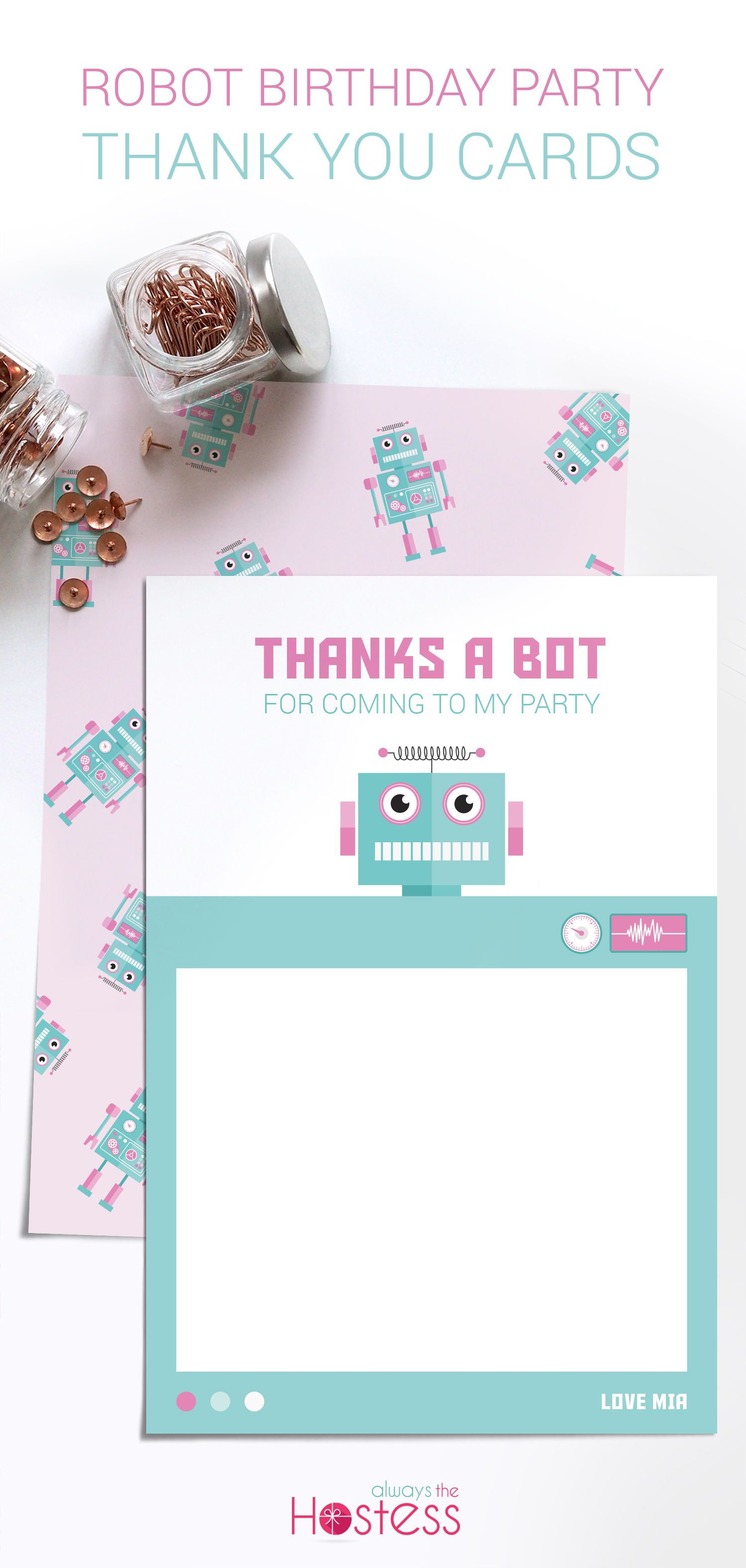 File Check Out Card girl robot thank you cards, kids birthday party thank you