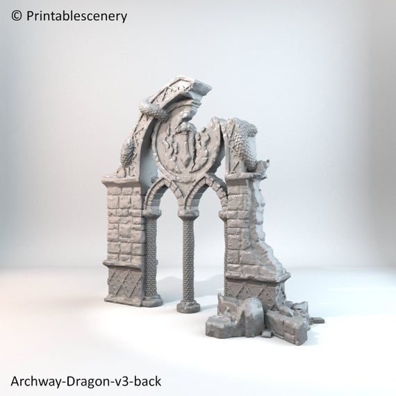 Rampage - Ruined Dragon Archway 28mm 32mm Wargaming Tabletop Scatter Terrain D&D, DnD, Pathfinder, S #wargamingterrain