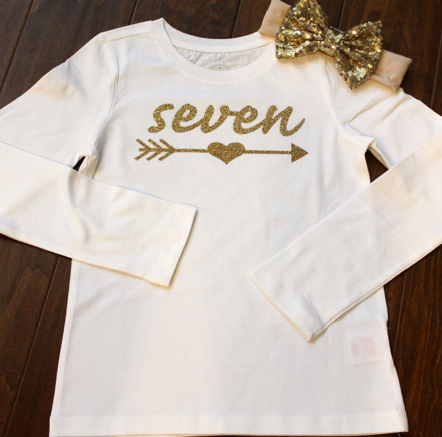 Seventh Birthday Shirt Seven 7th Glitter