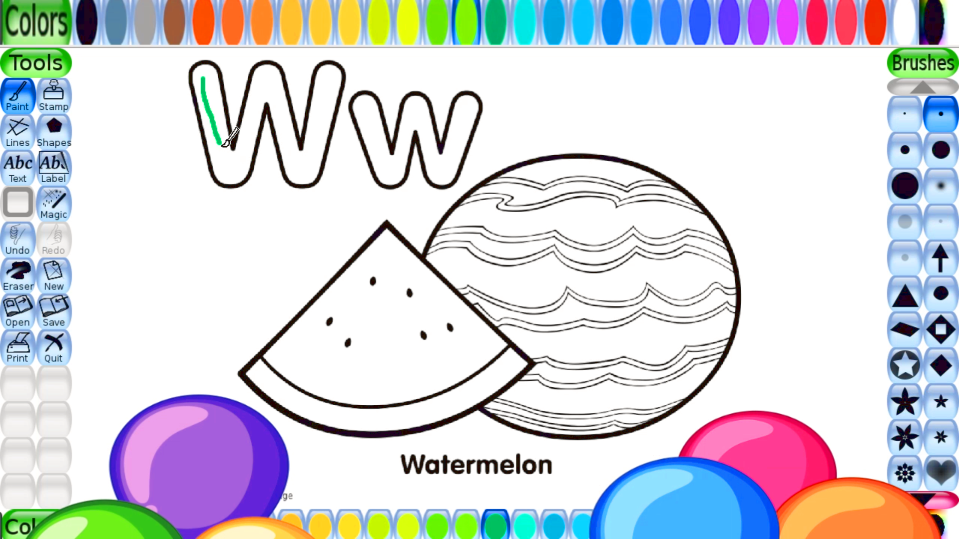 Coloring Pages For Kids Alphabet Letter W Coloring Sheets Watermelon Coloring Pictures Free Co Alphabet For Kids Color Activities Coloring Pages For Kids [ 1080 x 1920 Pixel ]