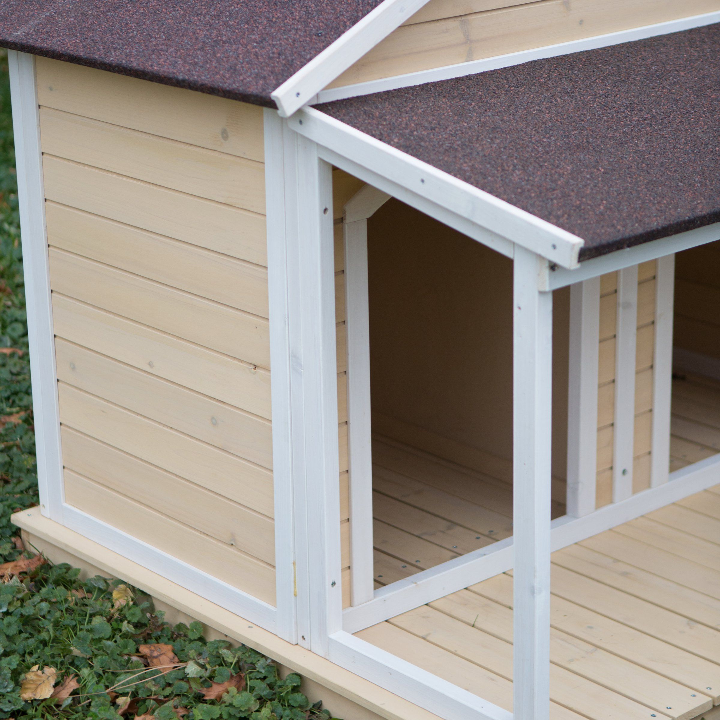 Antique Large Dog House W Roof Solid Wood Penthouse Kennels Crates Duplex 51x43x43 W Balcony Dogbedideas Dog Houses Outdoor Dog Bed Large Dog House