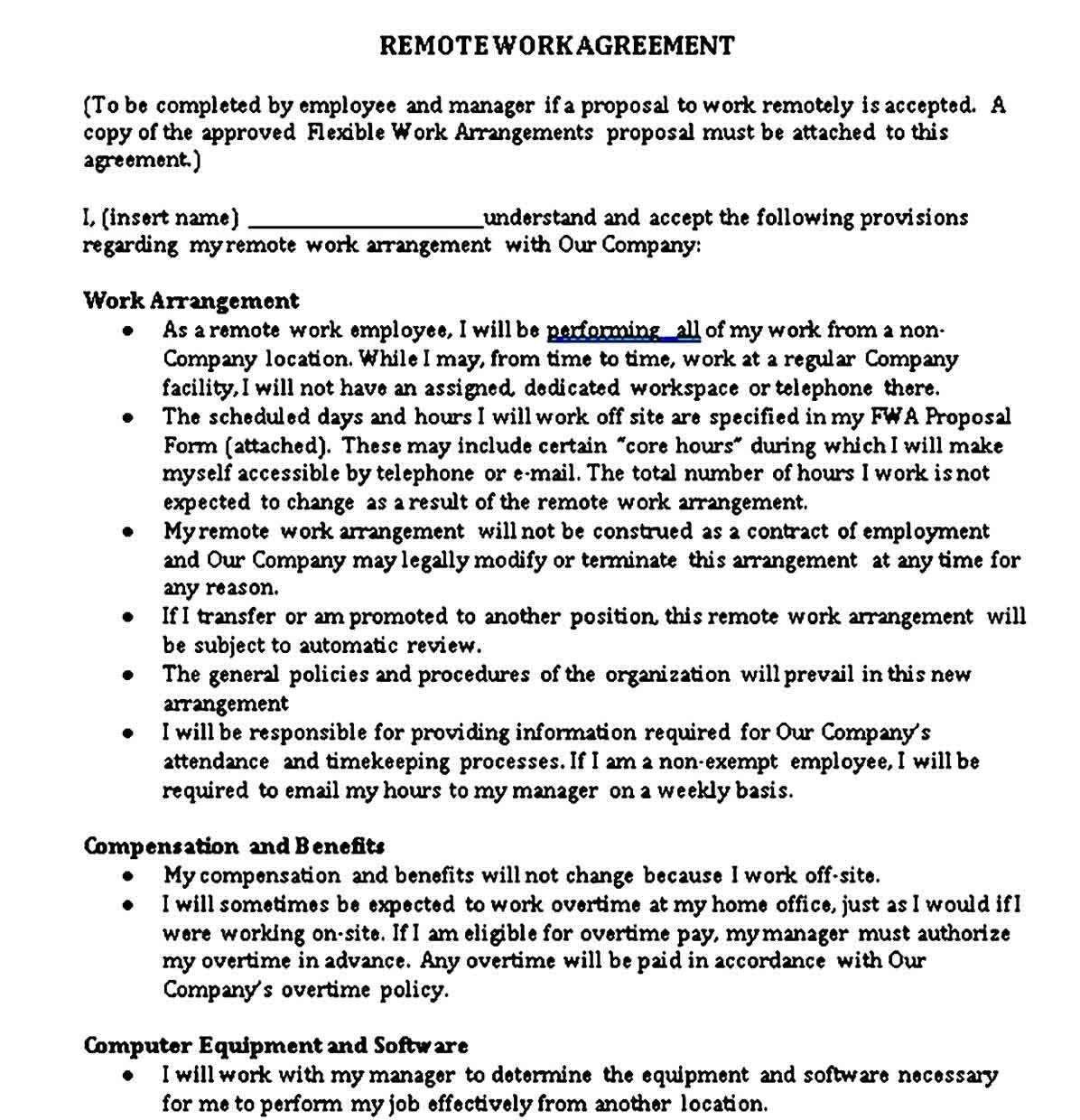 Work Agreement Sample Template In 2021 Work Agreement Agreement Contract Template Work from home agreement template