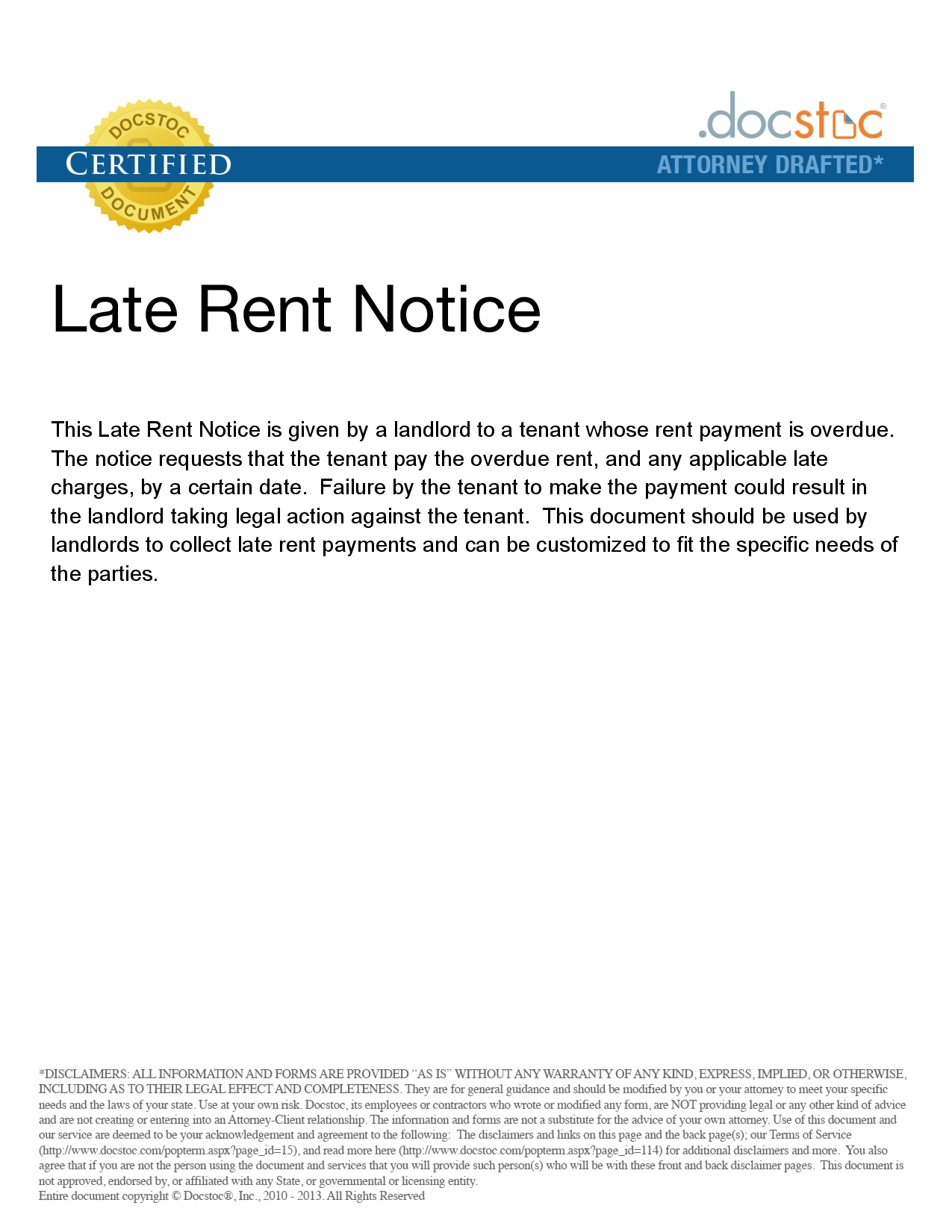 Png  Notice Of Late Rent  Legal Documents