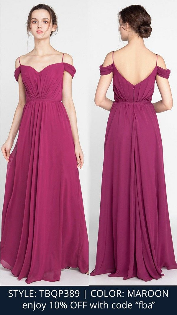 fe3619fa4c Chiffon Long Maroon Off the Shoulder Bridesmaid Dress with Spaghett Straps