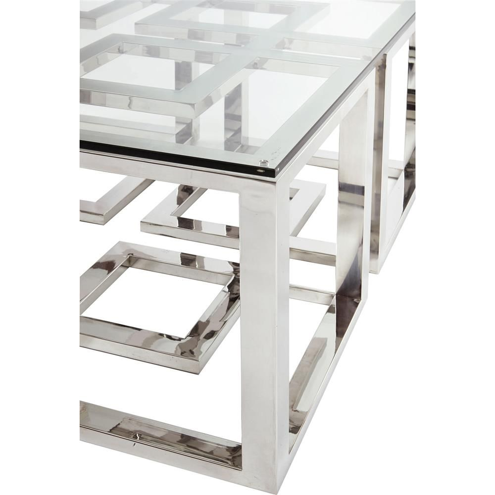 Mercer stainless steel silver square glass coffee table mercer stainless steel silver square glass coffee table geotapseo Images