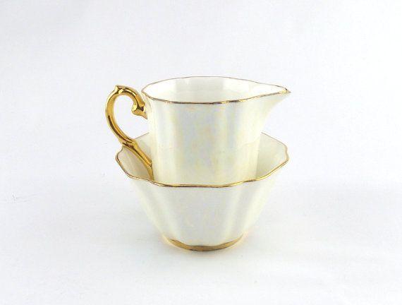 Cream and Gold Lustreware Cream and Sugar - Afternoon Tea Vintage China by GoldcrestVintage  www.goldcrestvintage.com