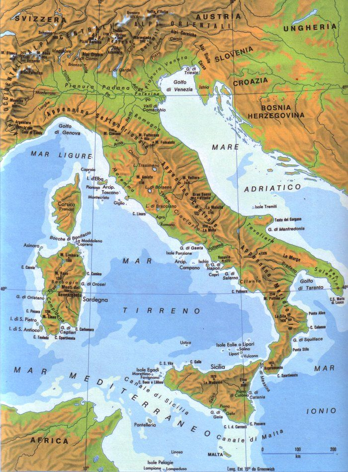 Cartina Dellitalia Ingrandita.Cartina Fisica Italia Mappa Dell Italia Geografia Geografia Fisica