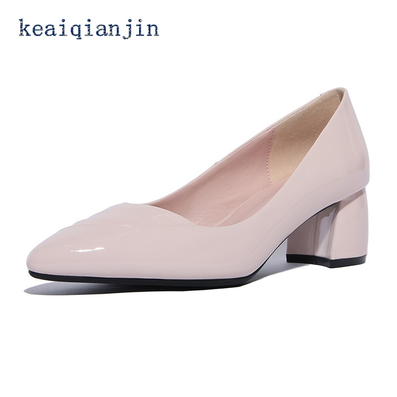 (42.12$)  Watch here - http://aidlg.worlditems.win/all/product.php?id=32796471352 - Casual Pink Pumps 2017 Fashion Shallow Pointed Toe Pleated Shoes Blue Genuine Leather Solid High Woman Casual Pink Shoes