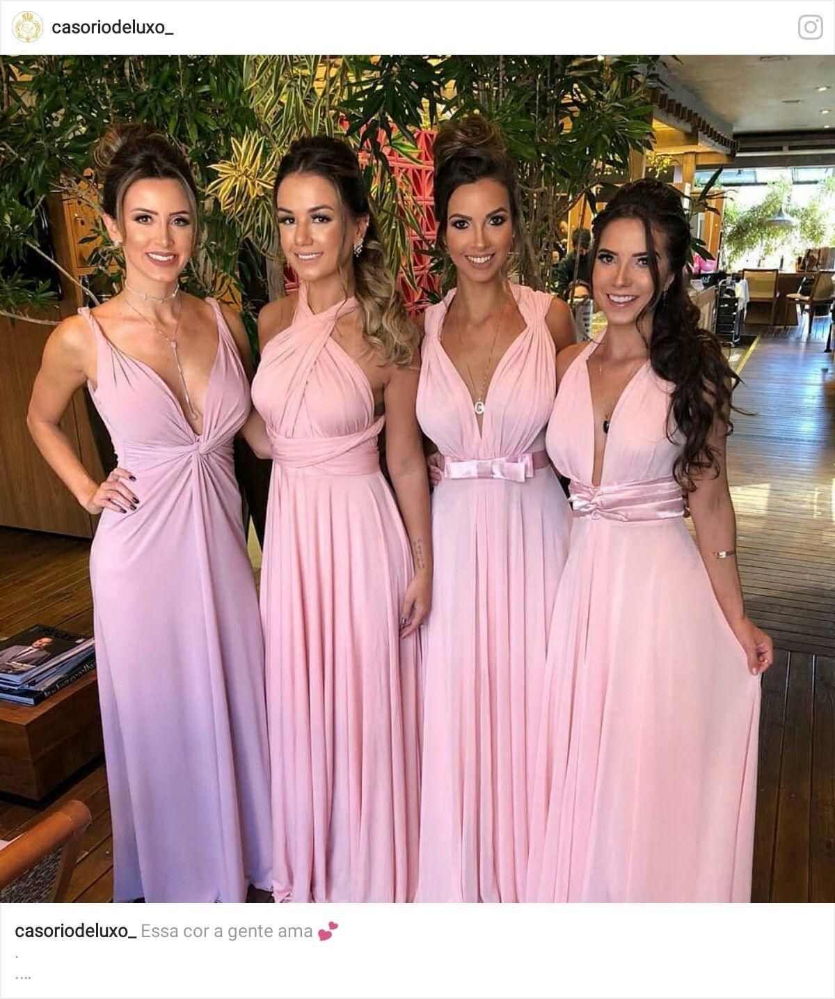 Vestido Versátil Rosa E Marsala Casamento Civil Madrinha