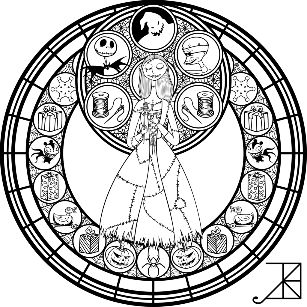 Stained Glass Sally Remastered Line Art Disney Stained Glass Disney Coloring Pages Mandala Coloring Pages [ 1024 x 1024 Pixel ]