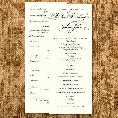 Formal Wedding Ceremony Program By Janinemikell On Etsy 75 00