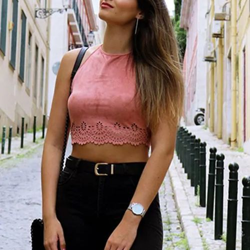c4c7db687009ac Join the suede parade in this killer faux suede crop top! The  Brie  Pink  Suede Scallop Edge Halter Top is so on point right now and we cant wait to  get our ...