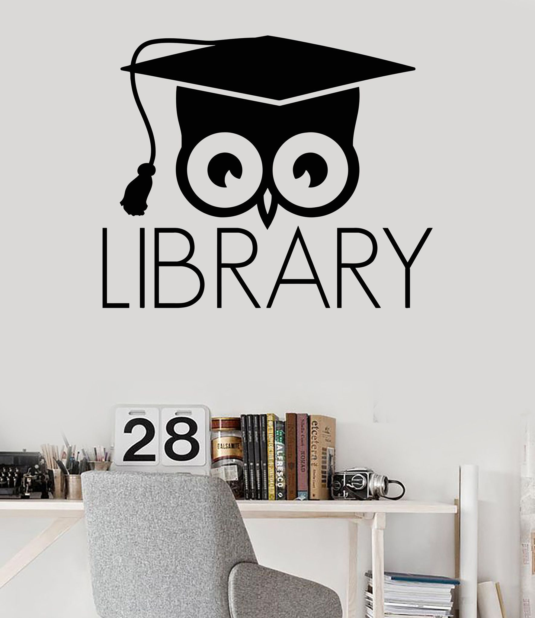 vinyl wall decal library books bookworm academic owl scientific stickers mural 320ig - Stickers Muraux Design Decoration