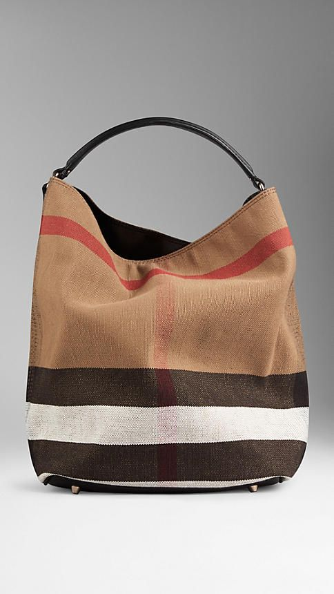 Black Medium Canvas Check Hobo Bag from Burberry - Jute cotton hobo bag in  Canvas check with a leather base and open top with metal clip fastening. 92a1413d30