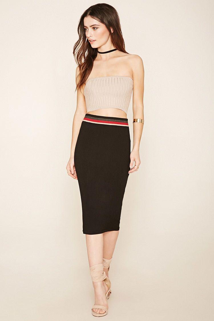 Ribbed Stripe-Waist Skirt