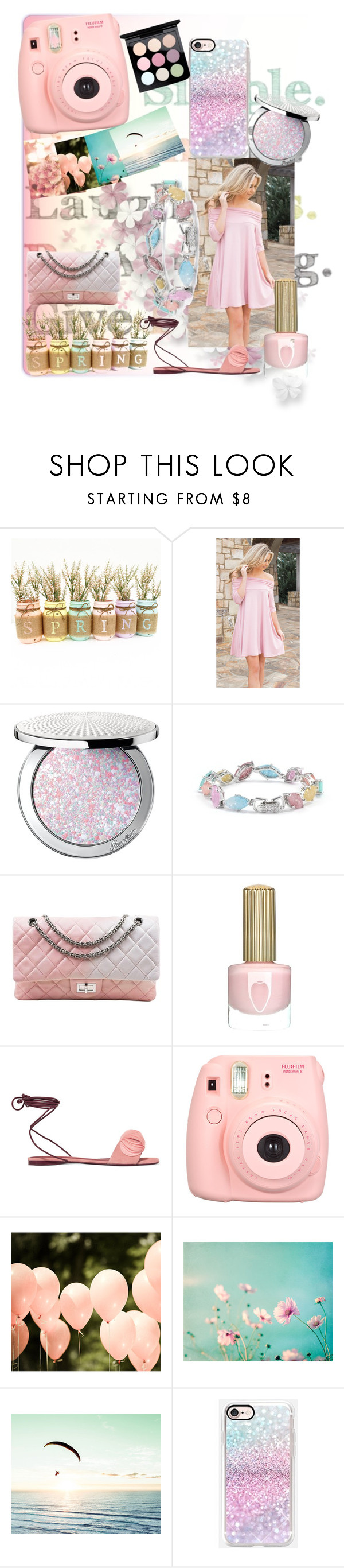 """Pastel Spring"" by mysticfashion ❤ liked on Polyvore featuring Guerlain, Cielle London, Chanel, Mercedes Castillo, Polaroid and MAC Cosmetics"