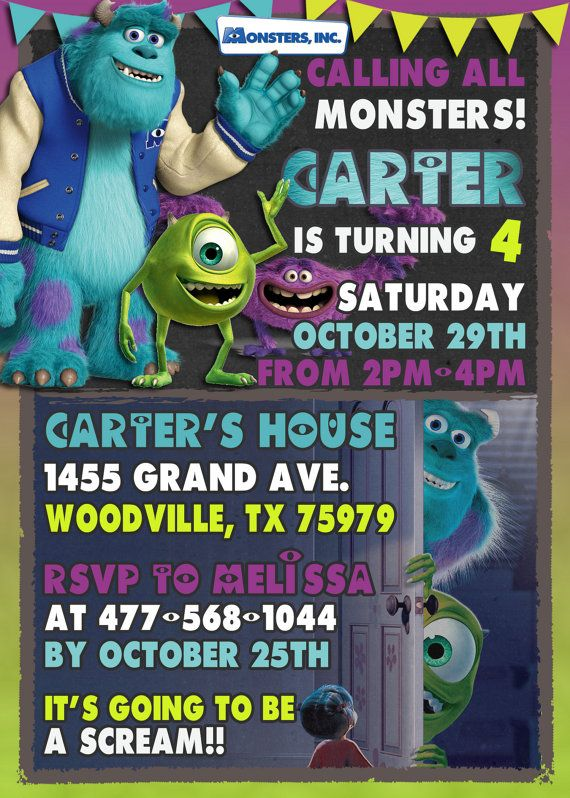 MONSTER INC. birthday party invitation (digital and printable!)  Make their birthday special with this unique Birthday Party Invitation!  ★ Perfect for last minute parties! ★ NO shipping cost! Digital invite is emailed to you ★ You can print as many copies as you'd like --------------------------------------------------------------------------------------  Hello and welcome to Little Kingdom Digital!  <PLEASE READ ITEM DESCRIPTION AND SHOP POLICIES BEFORE PURCHASE - BY PURCHASING YOU AGREE…
