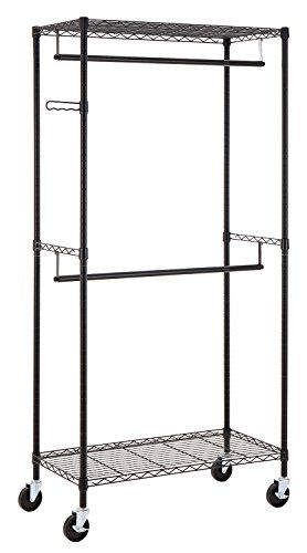 Finnhomy Heavy Duty Rolling Garment Rack Double Rod Black