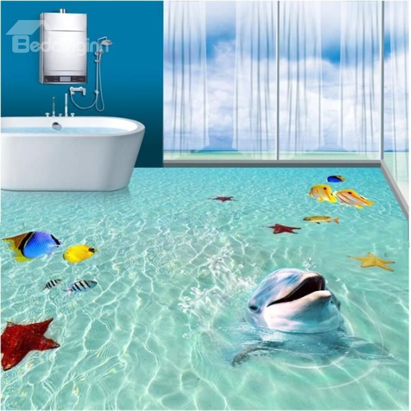 Super Cute Dolphin Playing In The Sea Pattern Bathroom Decoration Waterproof 3d Floor Murals Floor Murals 3d Floor Art Floor Art
