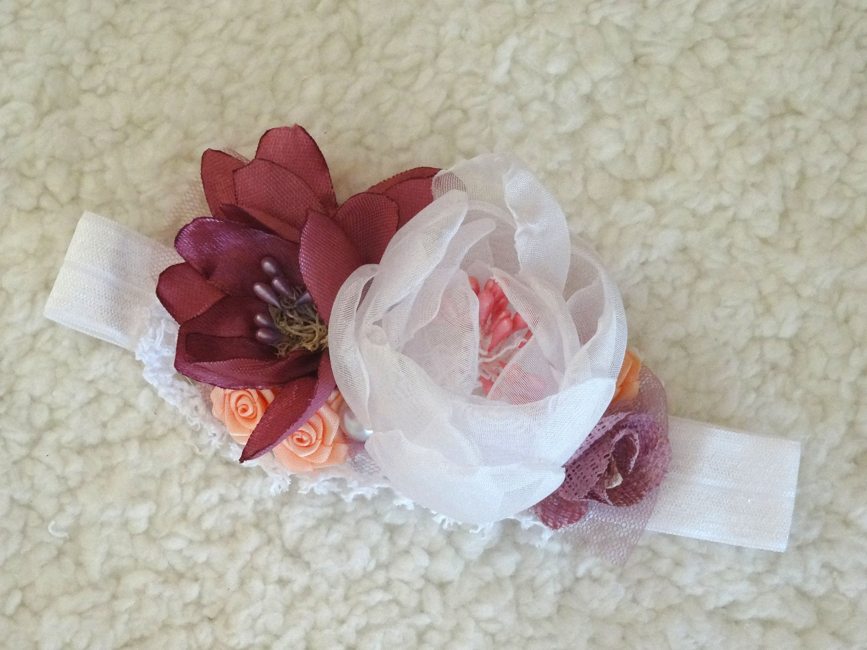 Baby Flower Hair Band Mauve White Handmade Accessory Baby