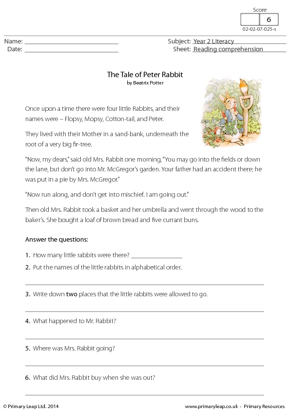 Reading Comprehension The Tale of Peter Rabbit – Reading Comprehension Free Worksheets