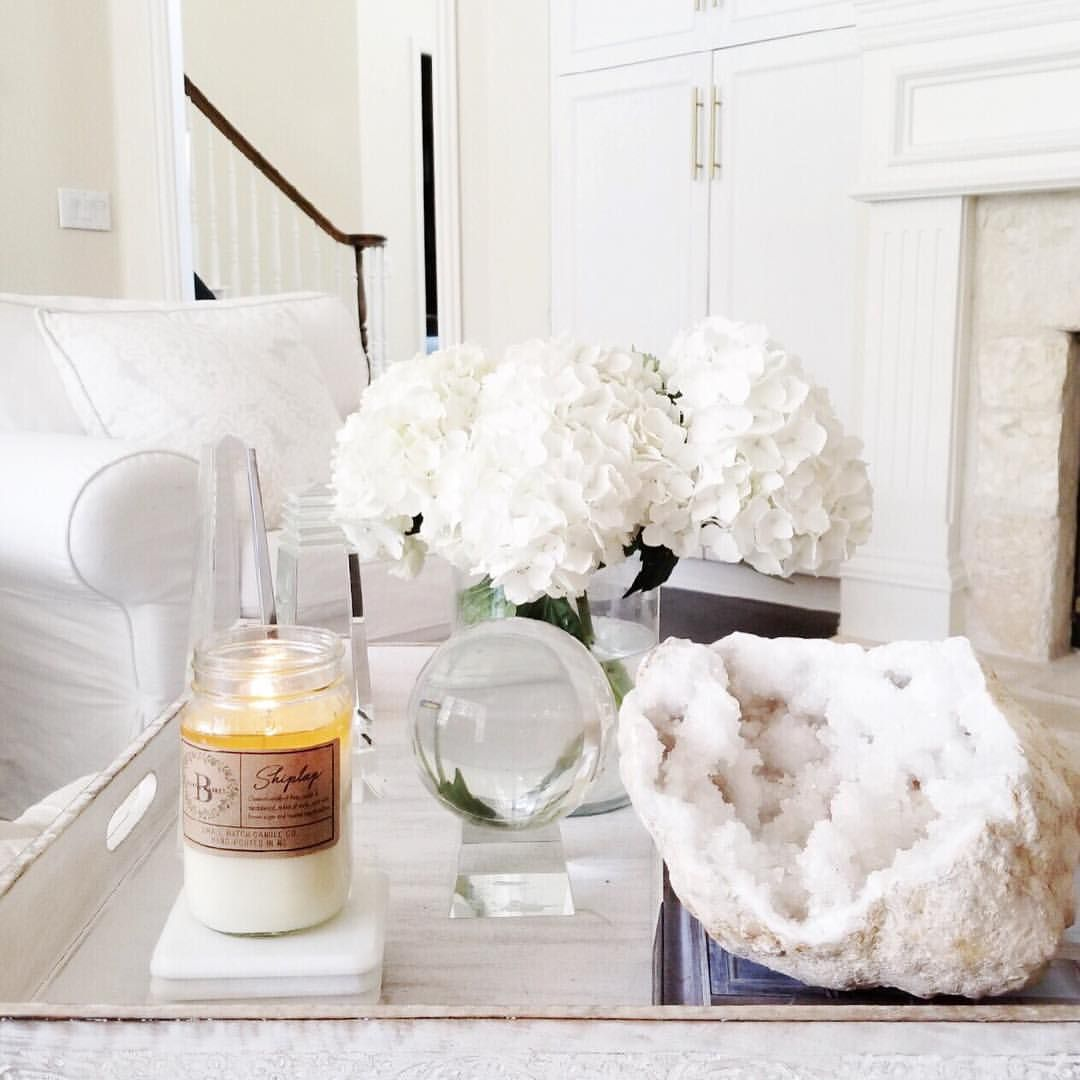 Tray styling. Table styling. White decor. White living room. From ...