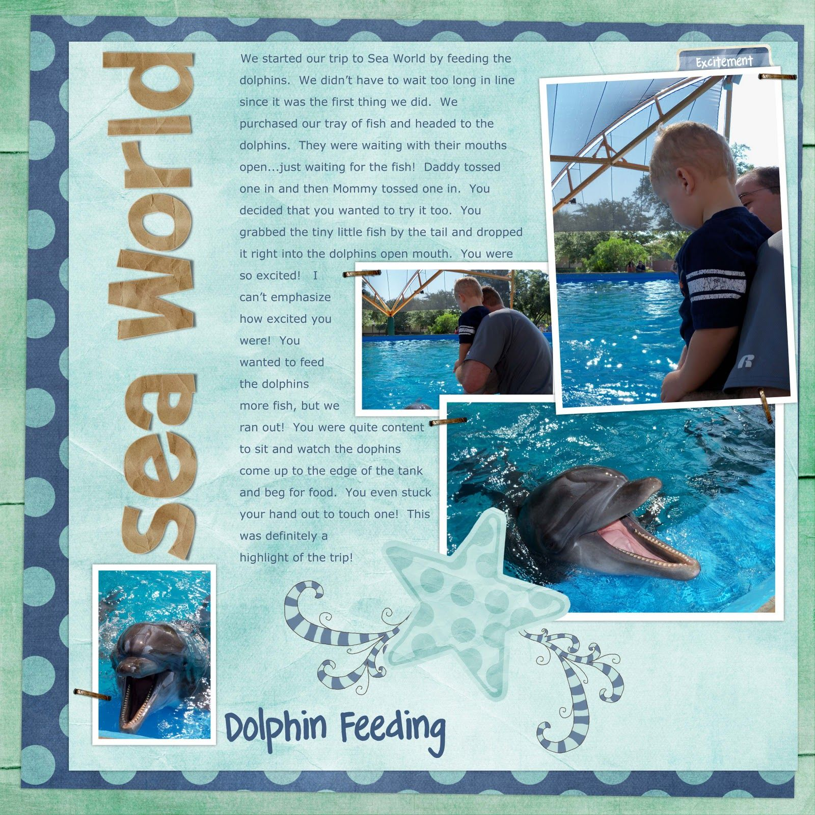 Scrapbook page of a family's experience feeding the dolphins at SeaWorld. What a great story!