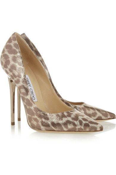 48b6164ee Heel measures approximately 120mm/ 5 inches Tonal-brown and ivory  leopard-print satin Pale-gold metallic print, pointed toe Slip on