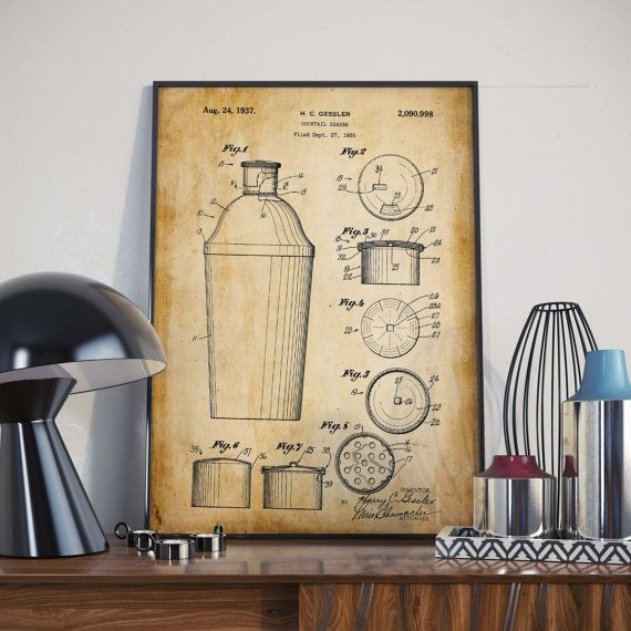 cocktail shaker patent print gift for bartender bar wall decor gift for men - Shaker Cafe Ideas