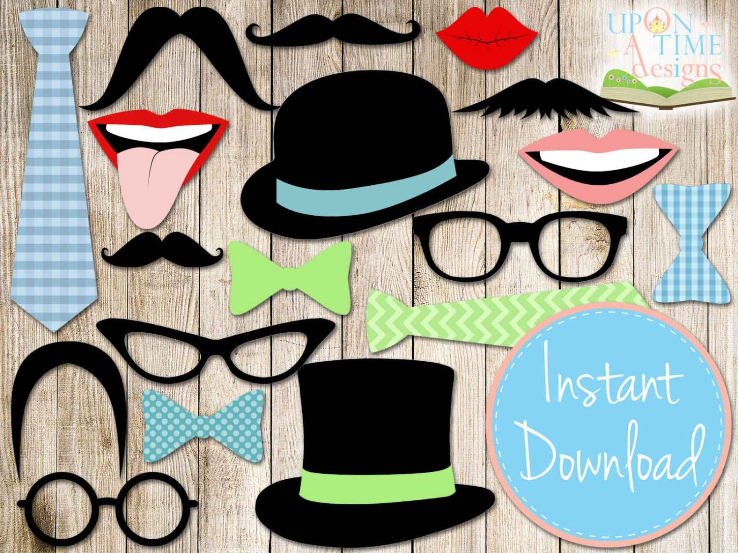 Beroemd Free Printable Photo Booth Props Hats … | birthday | Pinterest  PD66