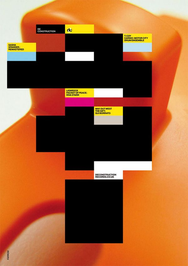 FARROW DESIGN, DECONSTRUCTION RECORDS UK POSTER: many more cool projects on their site.