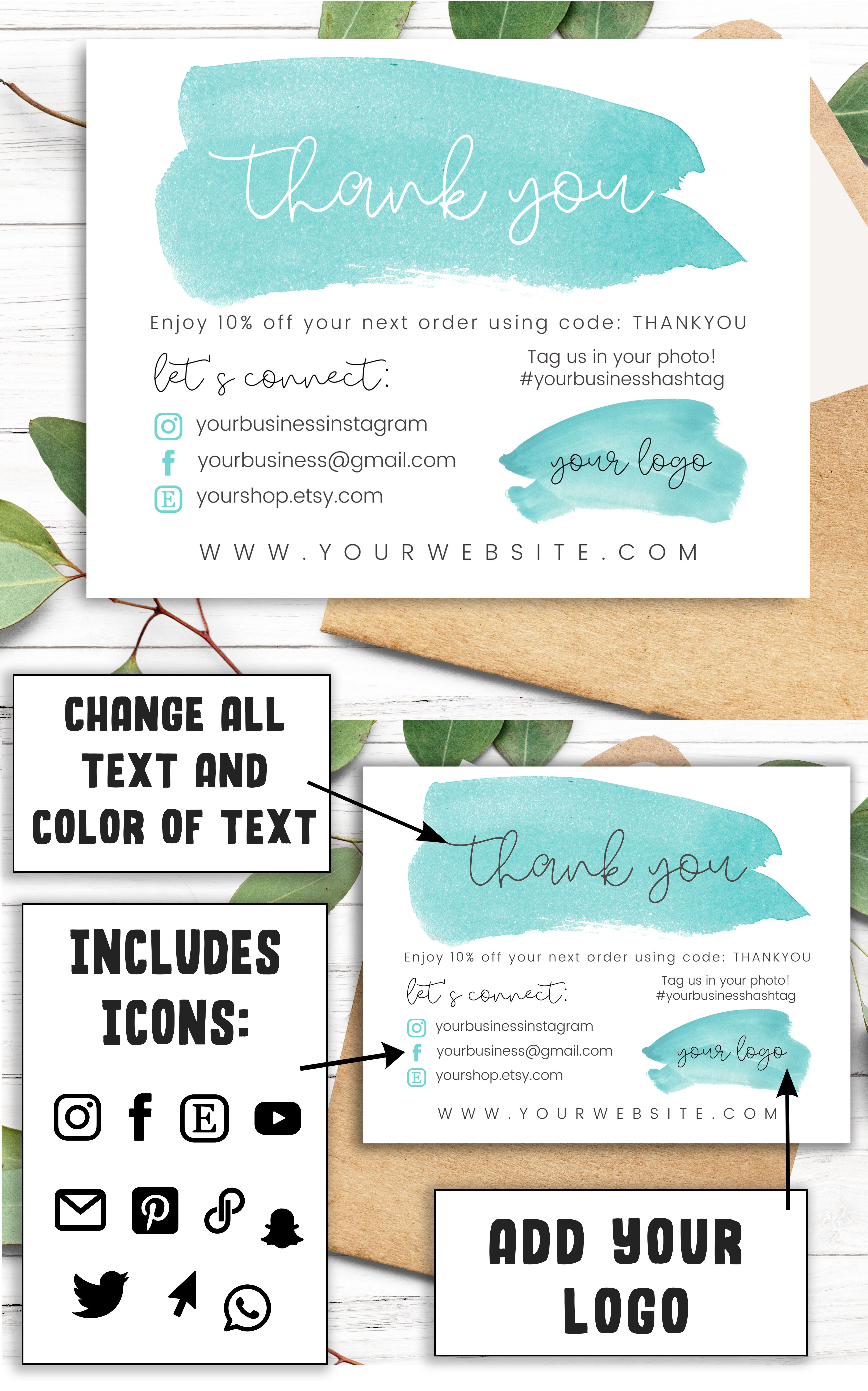 Turquoise Printable Business Thank You Card Template Thank You For Shopping Thank You For Your Order Cards Inserts For Online Orders In 2021 Small Business Packaging Ideas Business