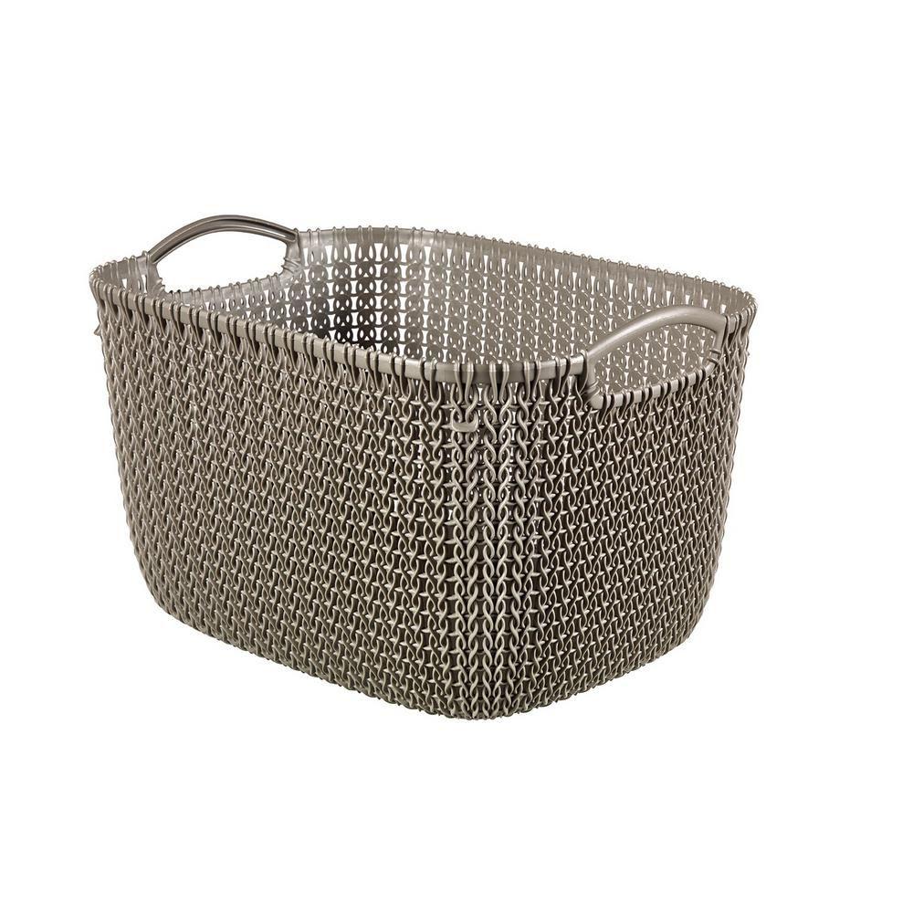Keter 20 Qt. Knit Rectangular Resin Large Storage Basket Set In Harvest  Brown (3