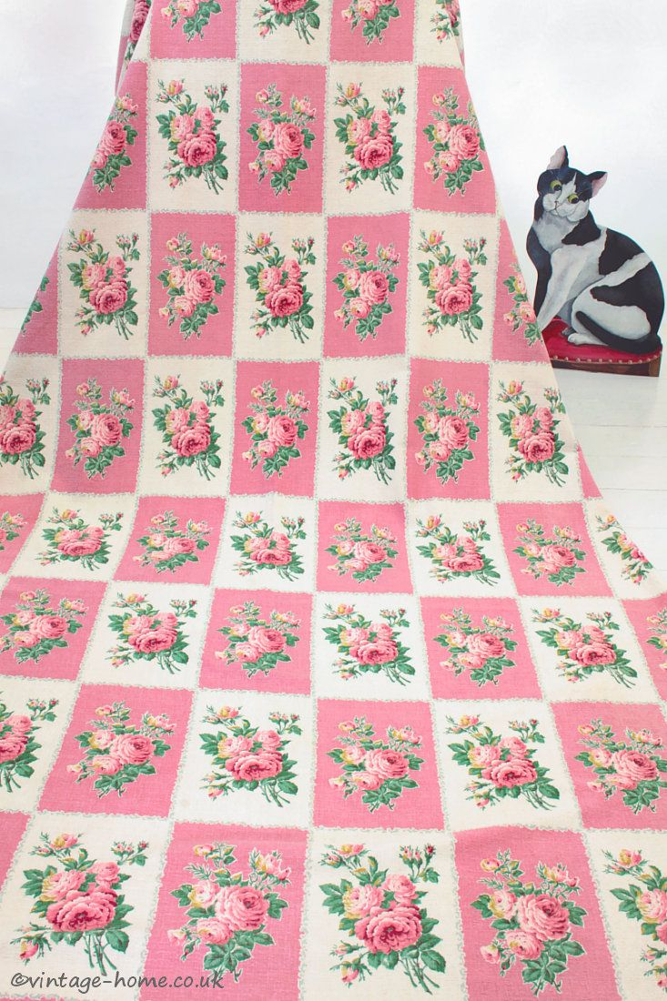 Vintage Home Shop - Truly Beautiful 1940s French Pink and Cream Roses Curtain: www.vintage-home.co.uk