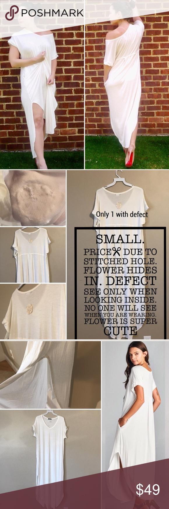 Discount white maxi dress pockets slits summer small best seller