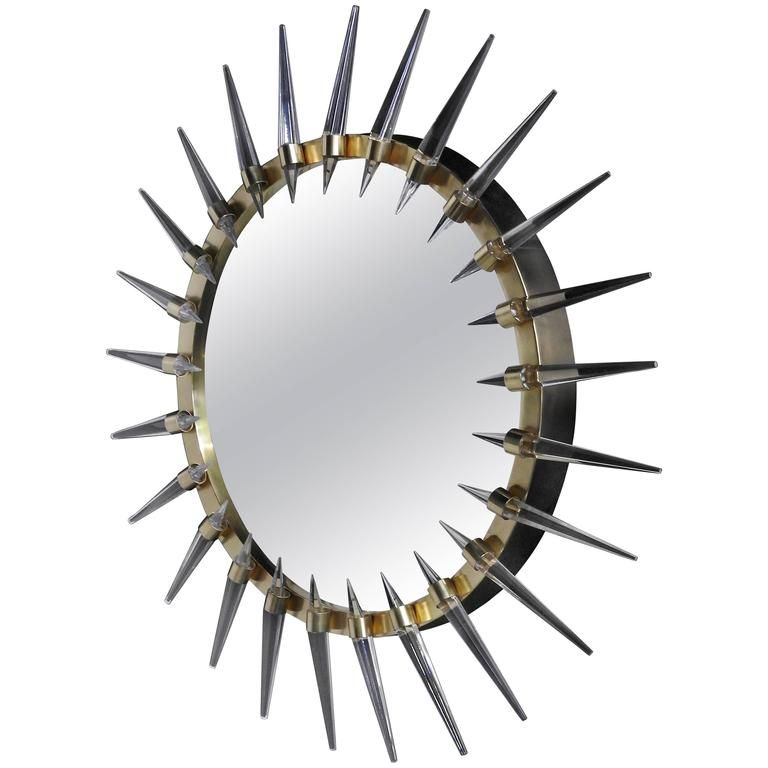 Mid-Century Modern Style Brass and Lucite Bullseye Mirror | 1stdibs.com