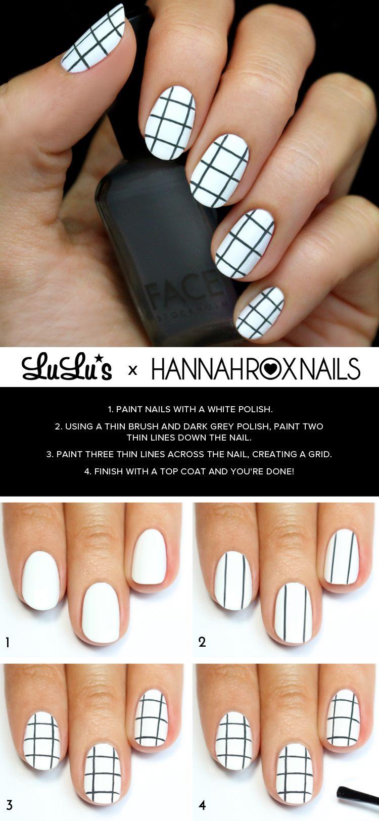 Mani monday grey and white grid pattern nail tutorial nails
