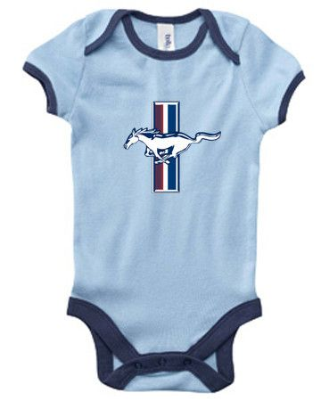 6b4d8ddf51f Ford Mustang onesie Pony design blue infant baby one piece romper body suit