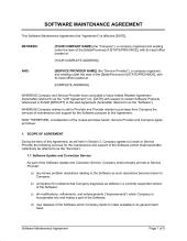 Software Maintenance Agreement - Template & Sample Form Biztree ...