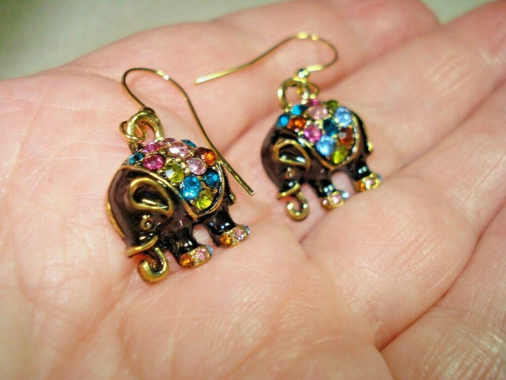 Handmade Glass Elephant Drop Earrings