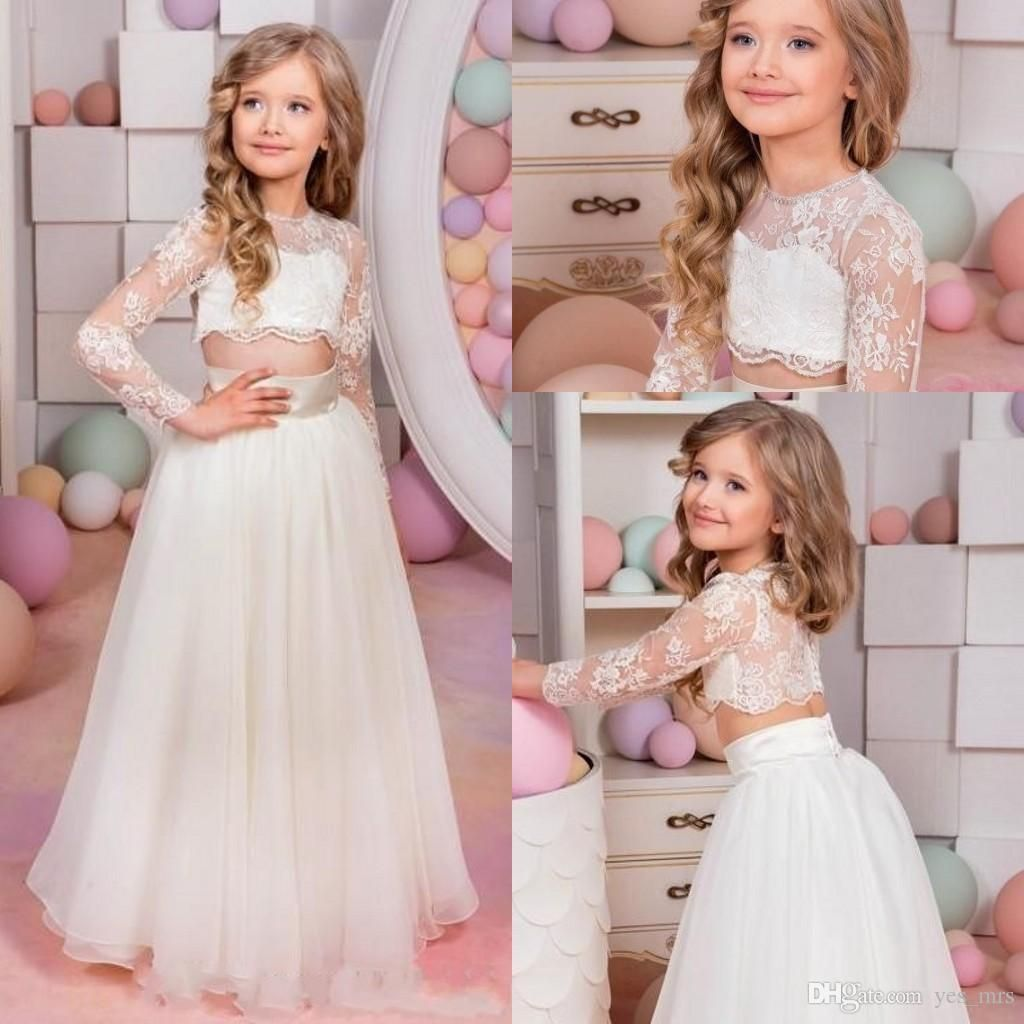 two pieces flower girls dresses for weddings jewel neck long